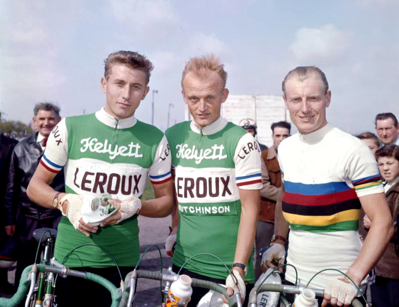 Jacques Anquetil, Jean Graczyk, André Darrigade, maillot Helyett-Leroux