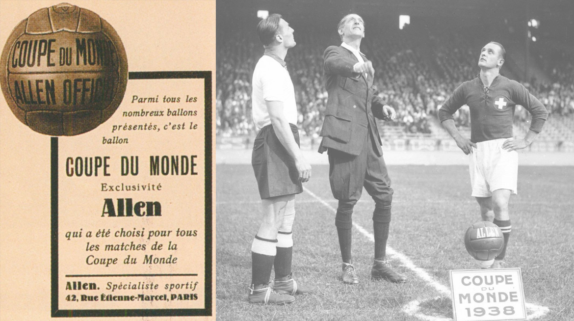 Ballon de football en cuir Allen Coupe du monde 1938