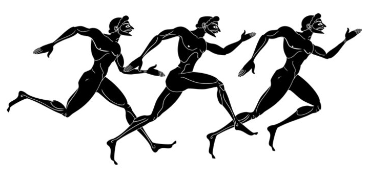 representation of athletes on an ancient greece pottery