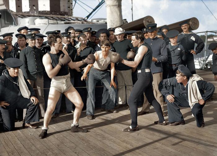 boxe sur l'uss navy le 3 juillet 1899