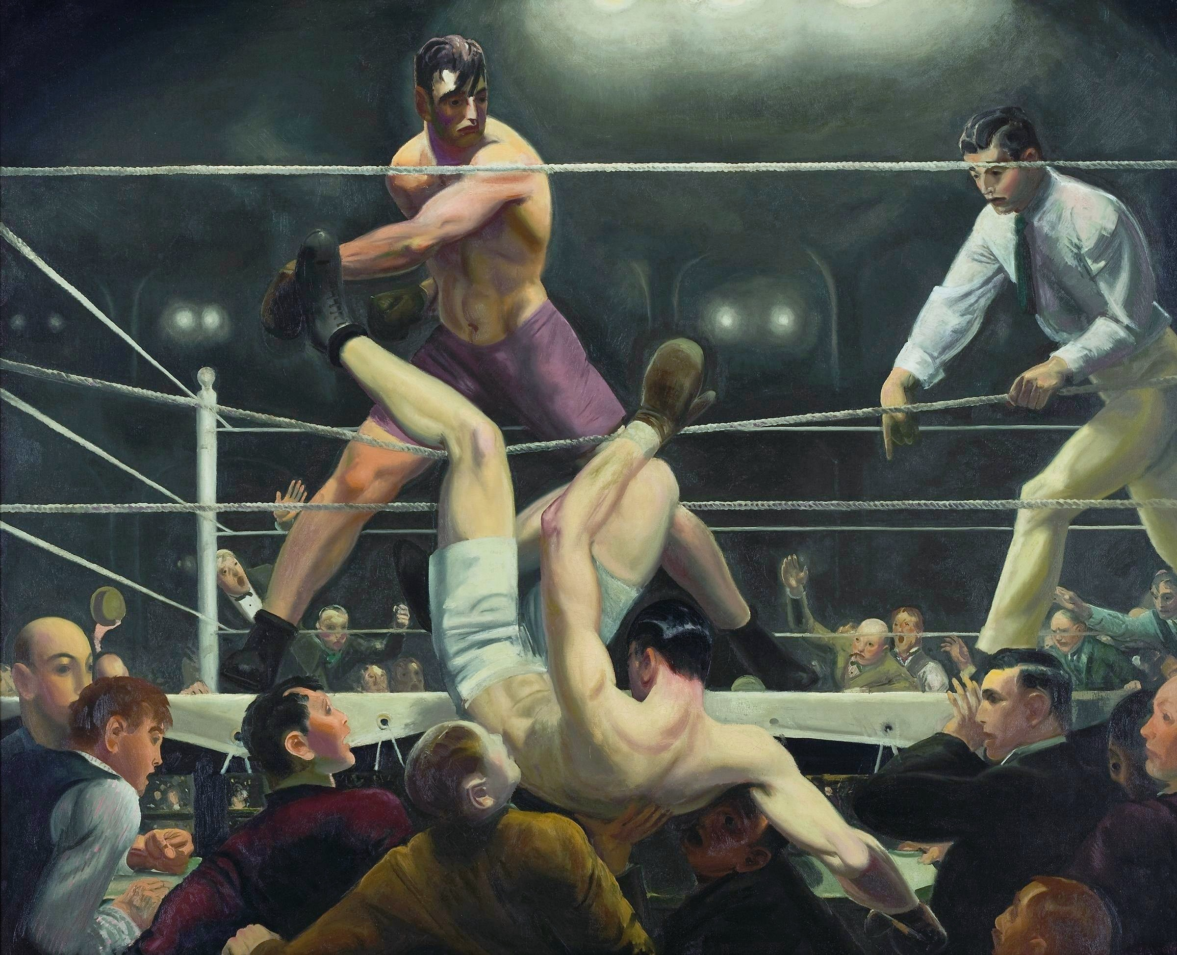 painting of the fight jack dempsey luis firpo in 1923 by george bellows