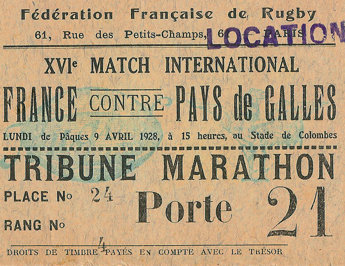 france wales 1928 rugby ticket