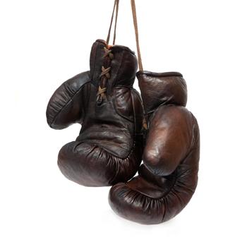 Gants de boxe cuir rétro marron