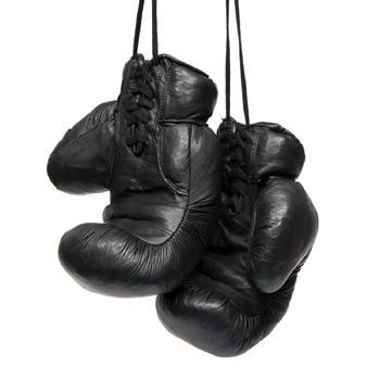 Gants de boxe cuir rétro noir