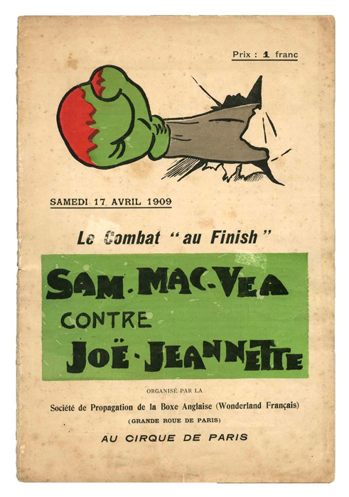 joe jeannette vs sam mcvea in 1909 fighting program