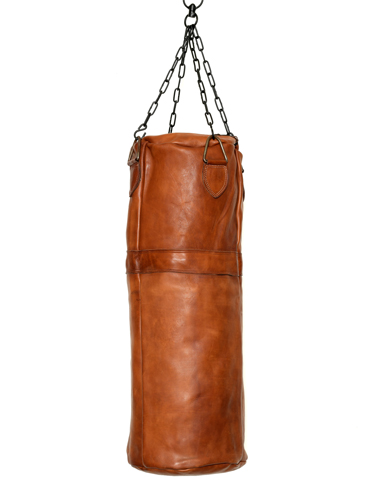 leather boxing punching bag cognac