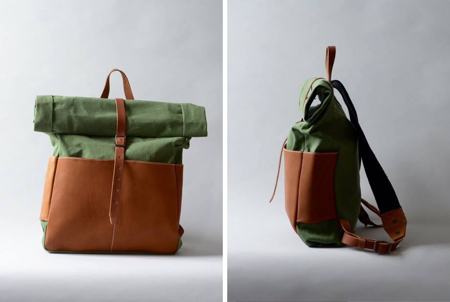 leather canvas rolltop backpack