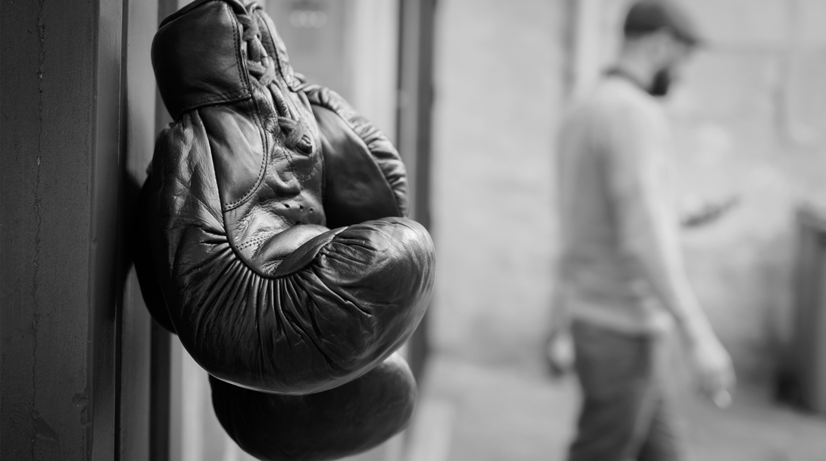 Leather retro boxing gloves