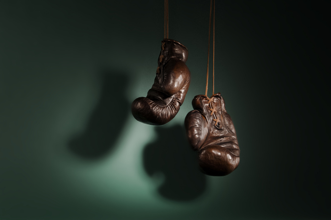 retro style leather boxing gloves