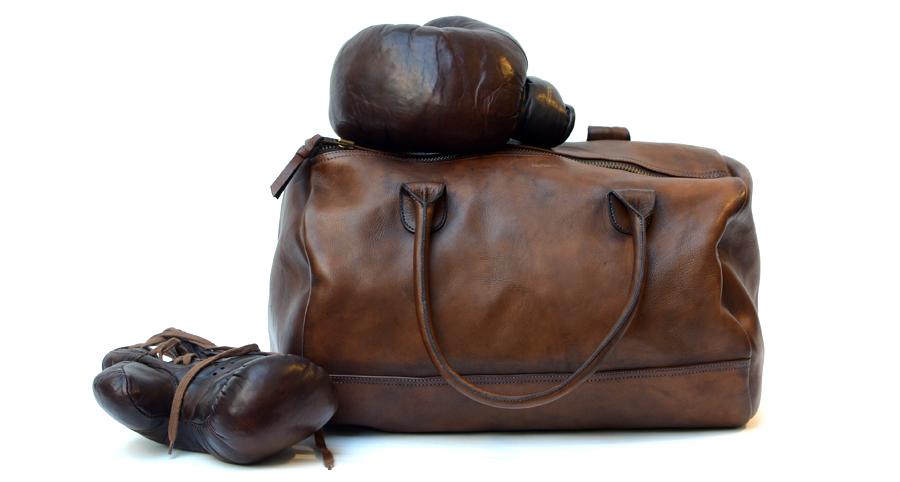 sac de sport en cuir rond week-end bag