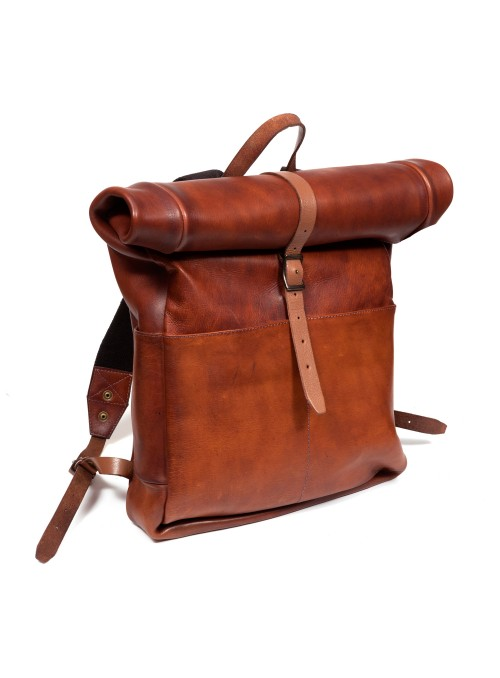 VINTAGE LEATHER ROLLTOP BACKPACK