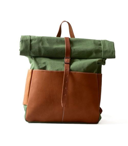 leather and canvas rolltop backpack