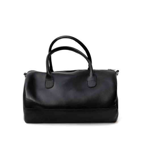 Sac weekend en cuir noir