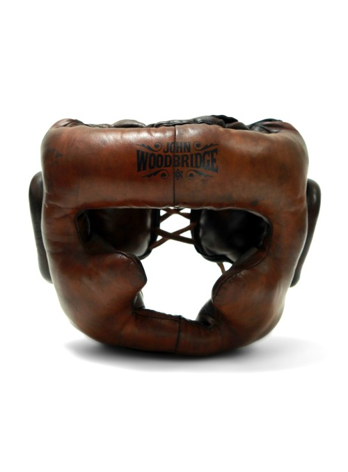 Leather boxing helmet