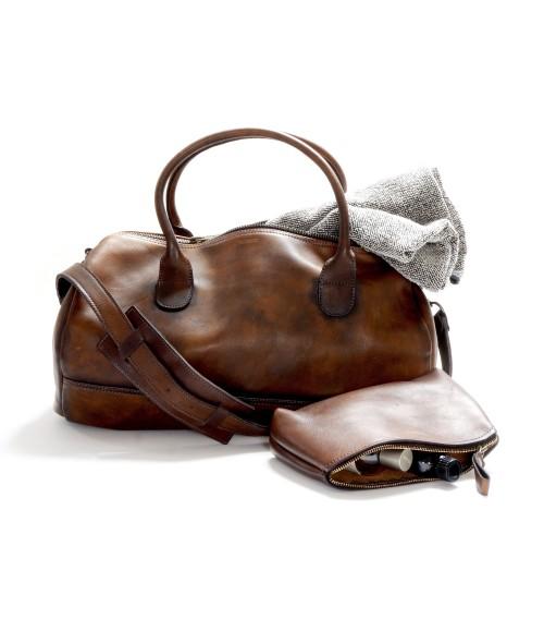 sac de sport en cuir gym bag + trousse de toilette en cuir