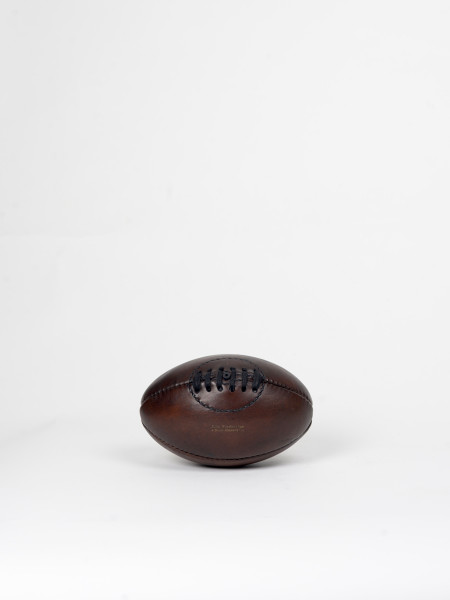 ballon rugby vintage en cuir miniature