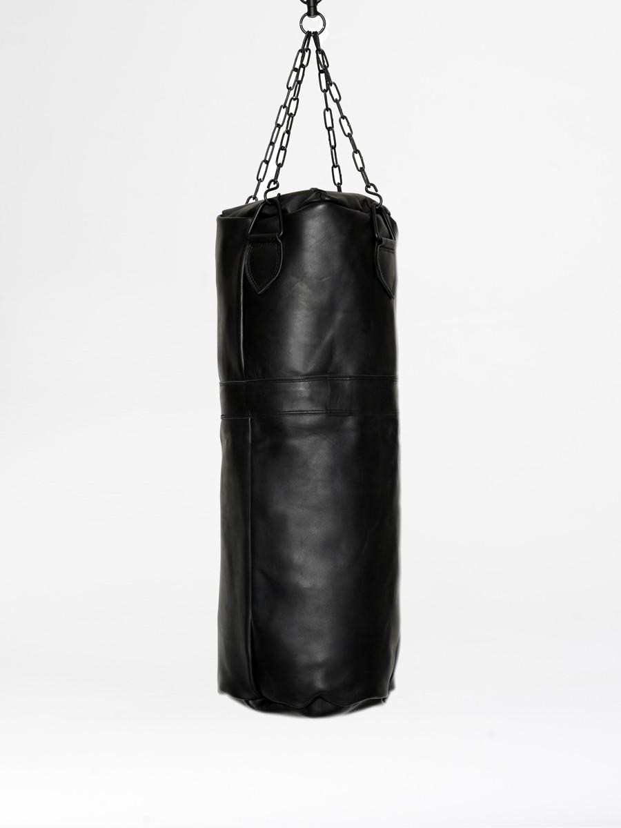 vintage leather boxing punching bag black