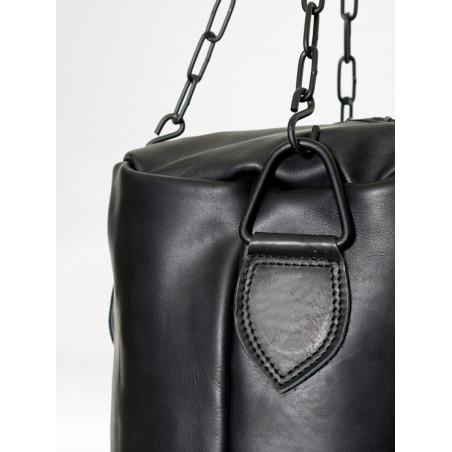 sac de frappe de boxe vintage en cuir noir