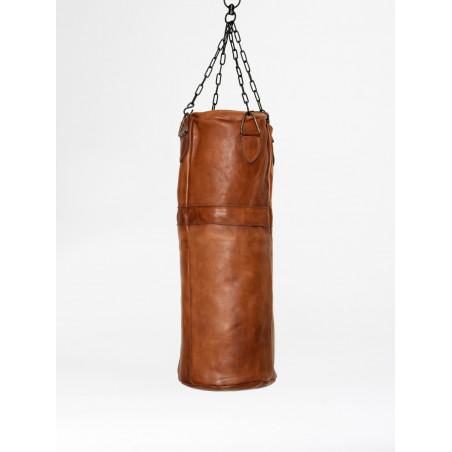 vintage leather boxing punching bag cognac