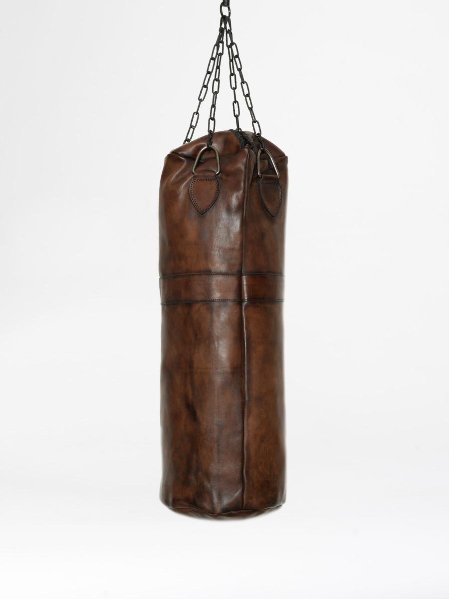 sac de frappe de boxe vintage en cuir marron