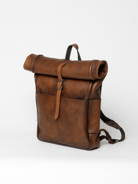 leather rolltop backpack brown
