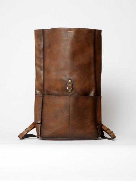 sac à dos rolltop vintage en cuir marron