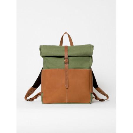 sac à dos rolltop en cuir et toile