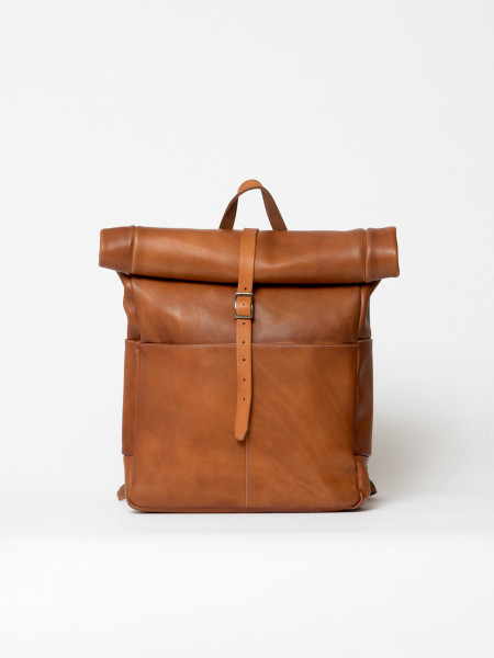 leather rolltop backpack cognac