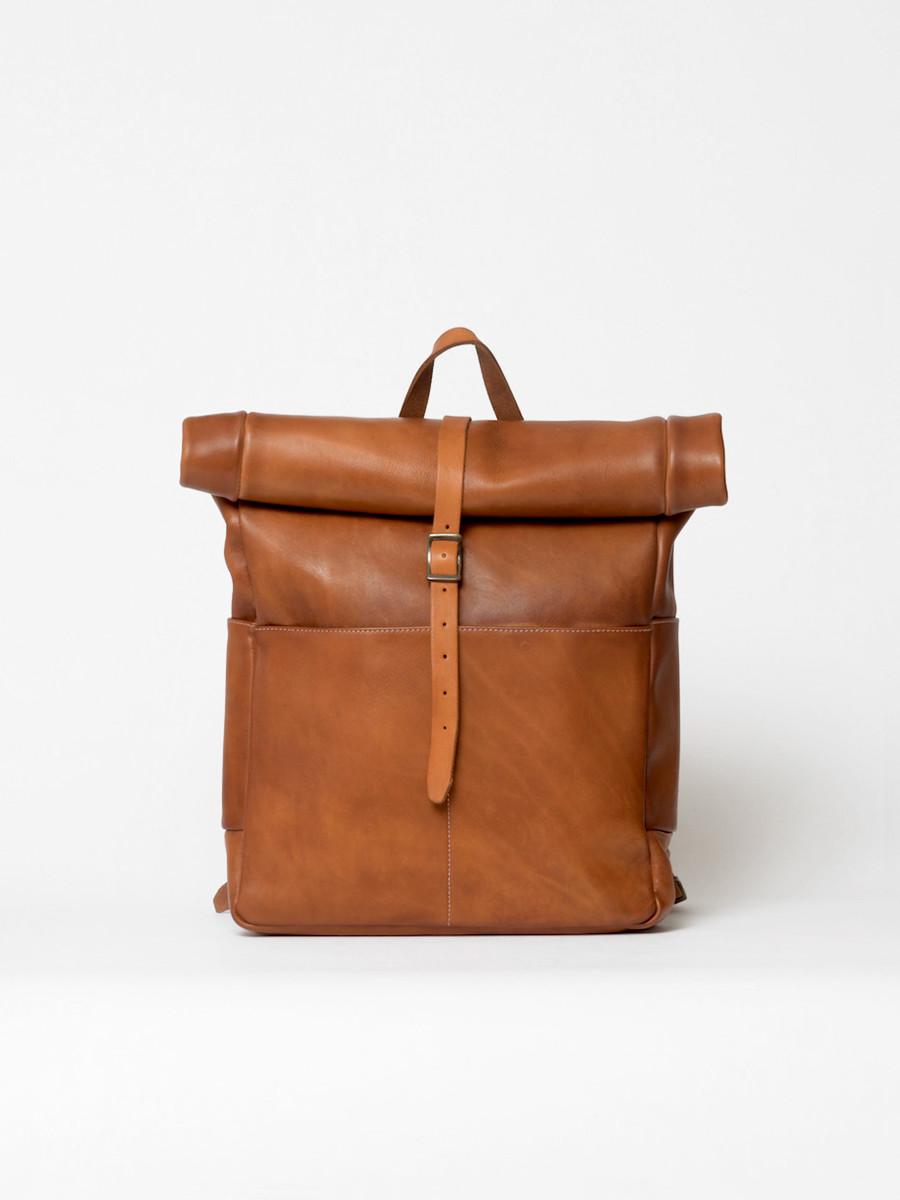 sac à dos rolltop en cuir cognac
