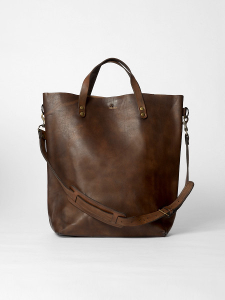 large leather tote bag brown