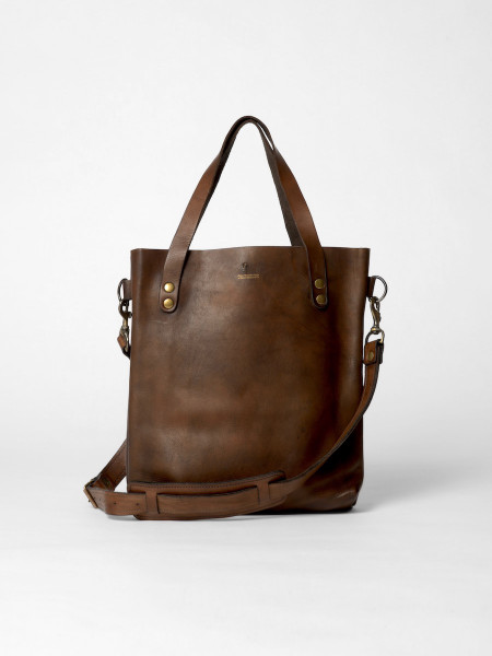 small leather tote bag brown