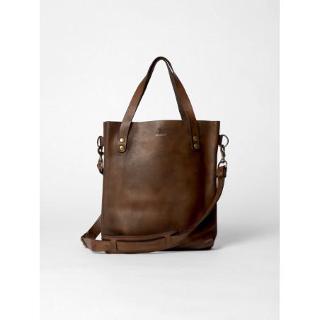 petit sac cabas en cuir marron