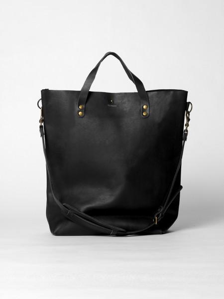 large leather tote bag black