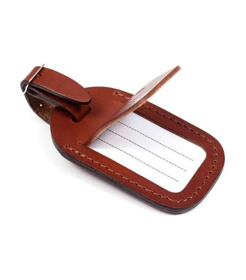 Porte-étiquette à bagage en cuir