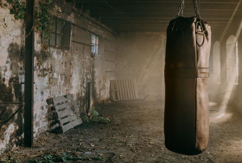 The industrial wasteland photo shoot of JW&S boxing punching bag